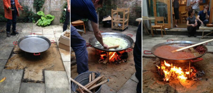 Making a space for the fire pit in the rear courtyard for cooing paella