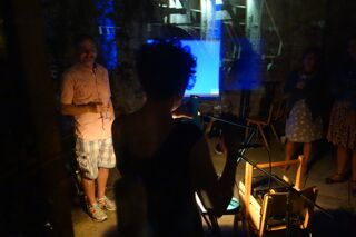 Tenth anniversary party: view of Lisa's draw-and-talk show