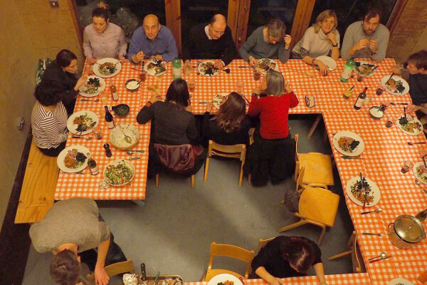 Christmas 2014 party meal, in unit 3, viewed from above