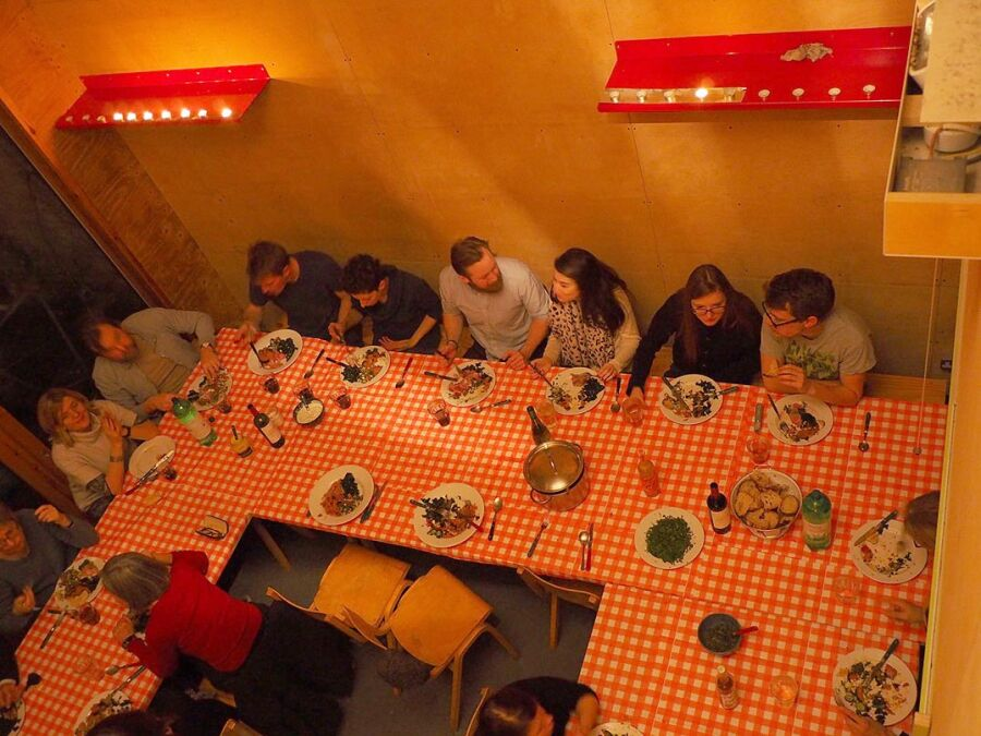 Christmas 2014 party meal, in unit 3, seen from above, different view