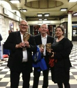 Berger, Robert, Cath with BAFTA awards at Embankment Underground