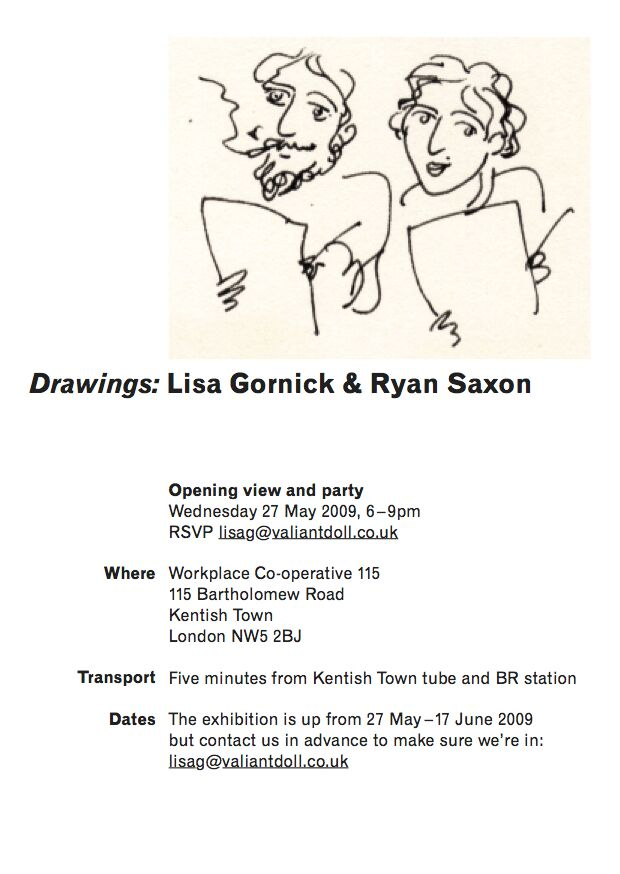 Poster for a drawings exhibition with an illustration of two people