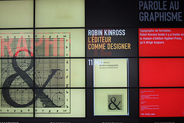 Outside the Beaubourg, Paris: window display promoting Robin's 'Modern typography' event
