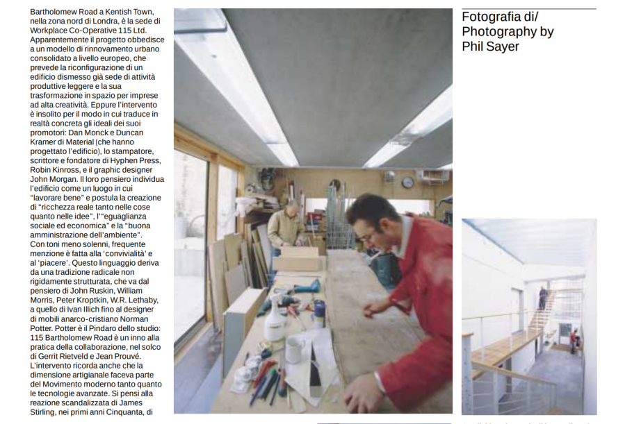 Article about 115 in Domus magazine